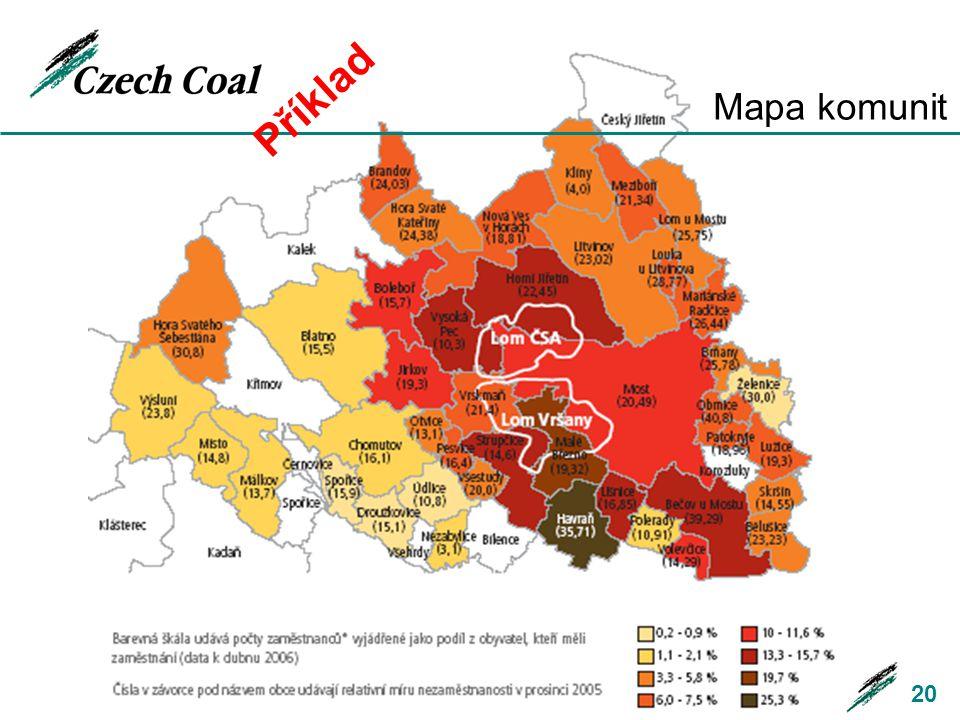 Příklad Mapa komunit. Oblast Monitoringu je dána polohou hlavní průmyslové činnosti a vlivu na komunity.