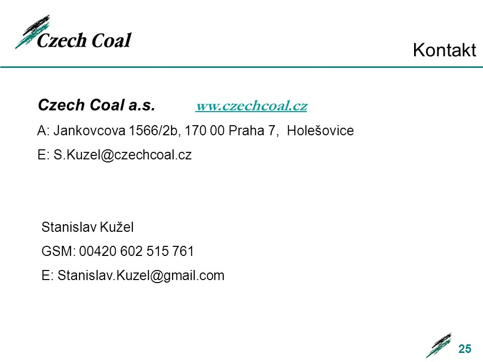 Kontakt Czech Coal a.s. ww.czechcoal.cz