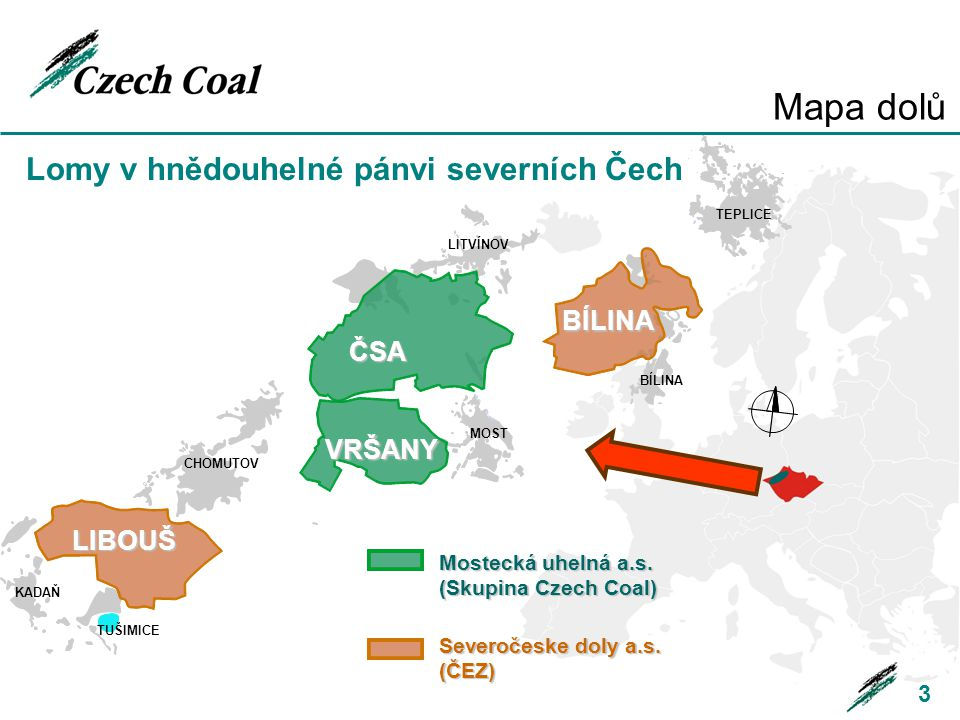 Mapa dolů Lomy v hnědouhelné pánvi severních Čech BÍLINA ČSA VRŠANY