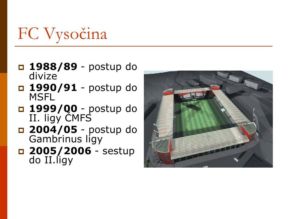 FC Vysočina 1988/89 - postup do divize 1990/91 - postup do MSFL