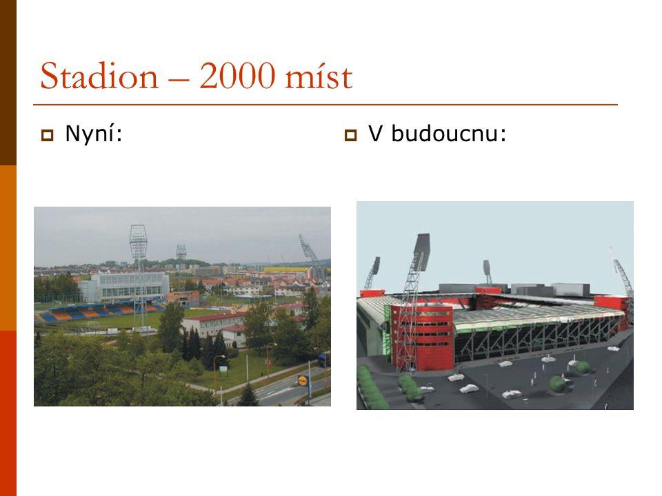 Stadion – 2000 míst Nyní: V budoucnu: