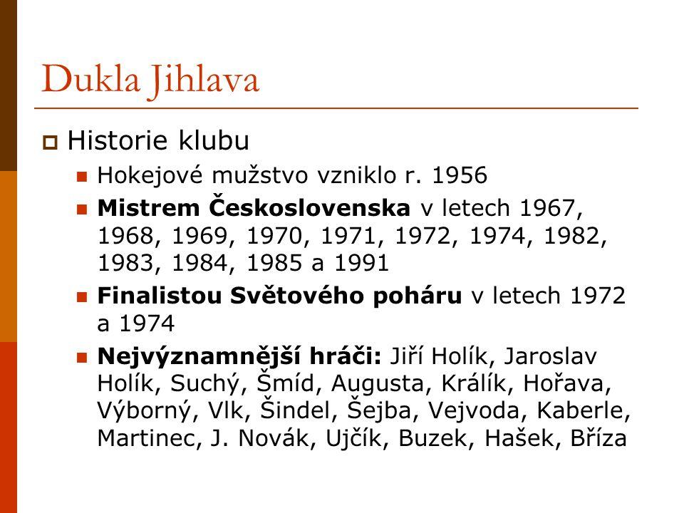 Dukla Jihlava Historie klubu Hokejové mužstvo vzniklo r. 1956
