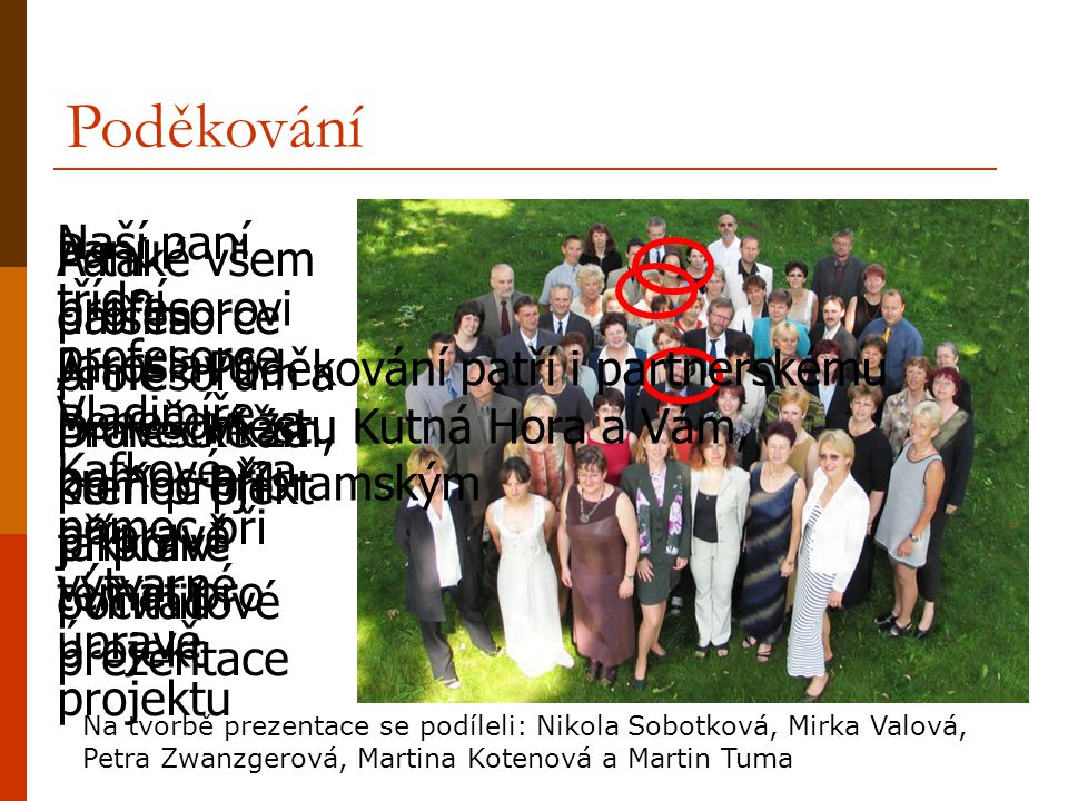 Poděkování Naší paní třídní profesorce Vladimíře Kafkové, za pomoc při výtvarné úpravě projektu.