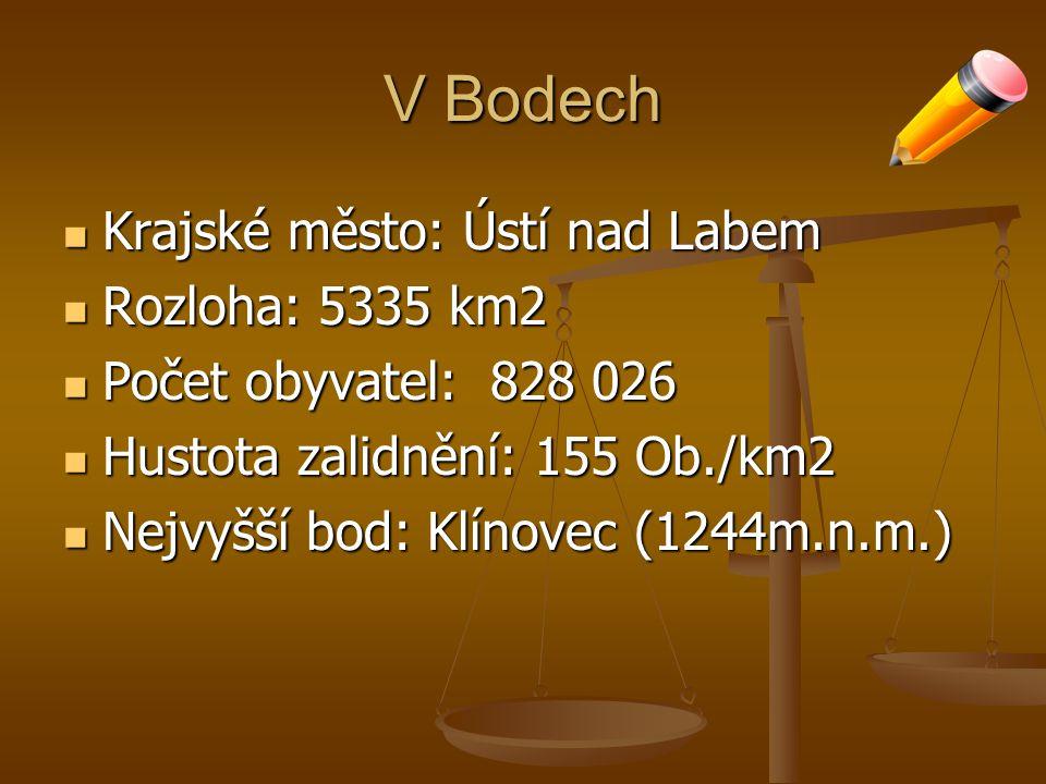 V Bodech Krajské město: Ústí nad Labem Rozloha: 5335 km2