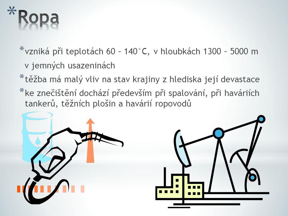 Ropa vzniká při teplotách 60 – 140°C, v hloubkách 1300 – 5000 m