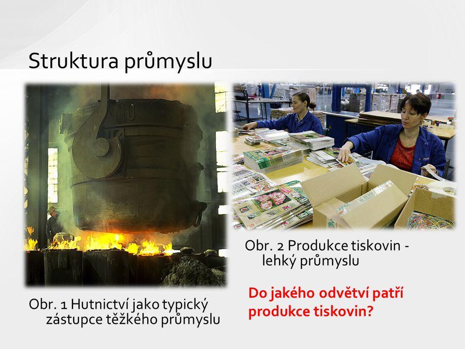 Struktura průmyslu Obr. 2 Produkce tiskovin - lehký průmyslu