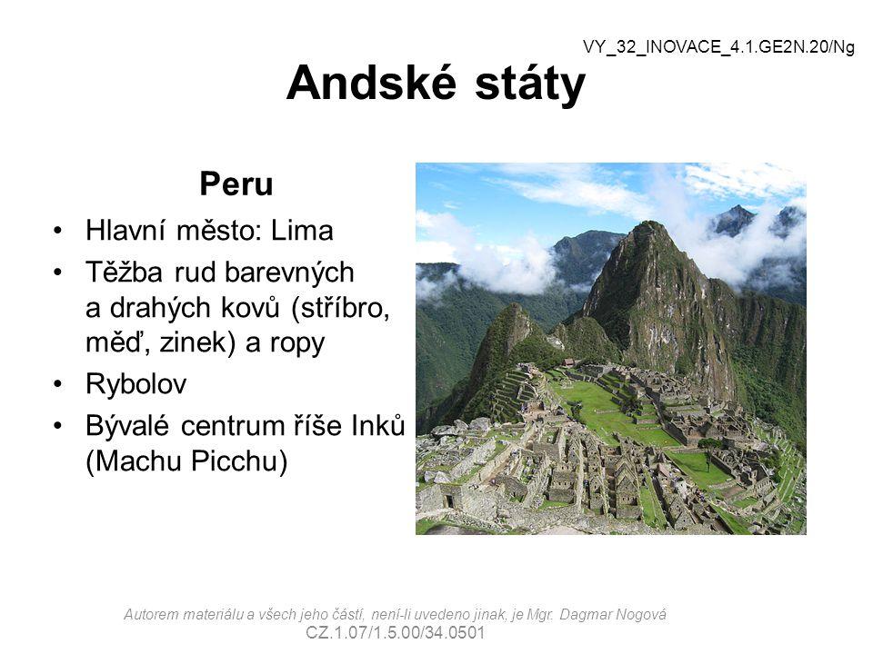 Andské státy Peru Hlavní město: Lima