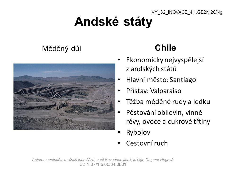Andské státy Chile Měděný důl