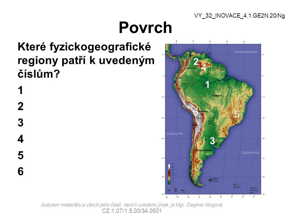 Povrch VY_32_INOVACE_4.1.GE2N.20/Ng. Které fyzickogeografické regiony patří k uvedeným číslům 1 2 3 4 5 6