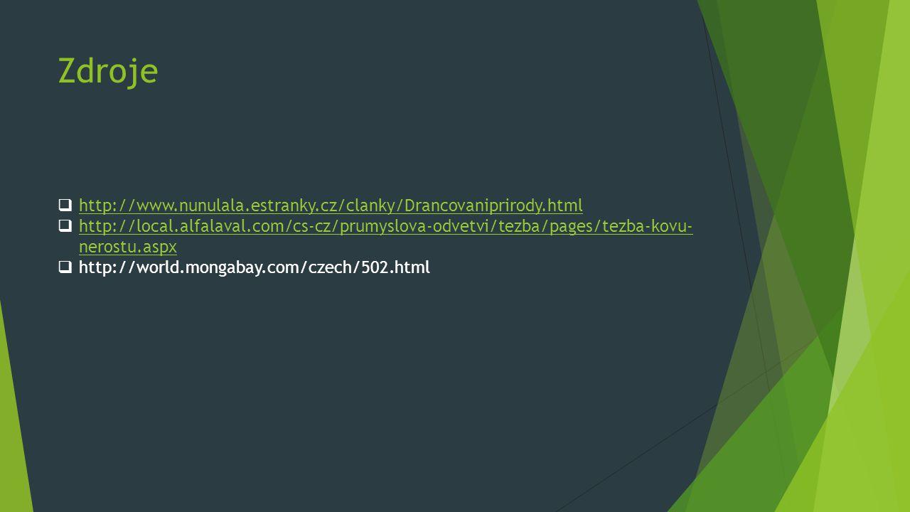 Zdroje http://www.nunulala.estranky.cz/clanky/Drancovaniprirody.html