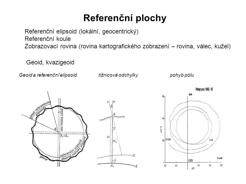 Referenční plochy Referenční elipsoid (lokální, geocentrický)