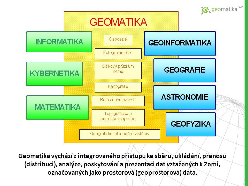 Geomatika vychází z integrovaného přístupu ke sběru, ukládání, přenosu (distribuci), analýze, poskytování a prezentaci dat vztažených k Zemi, označovaných jako prostorová (geoprostorová) data.