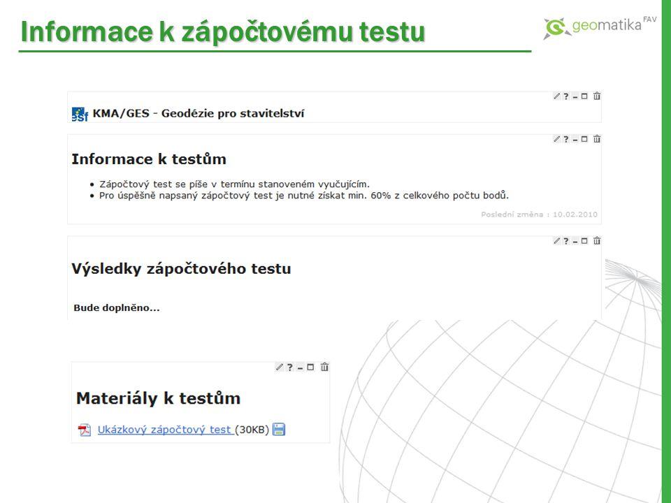 Informace k zápočtovému testu