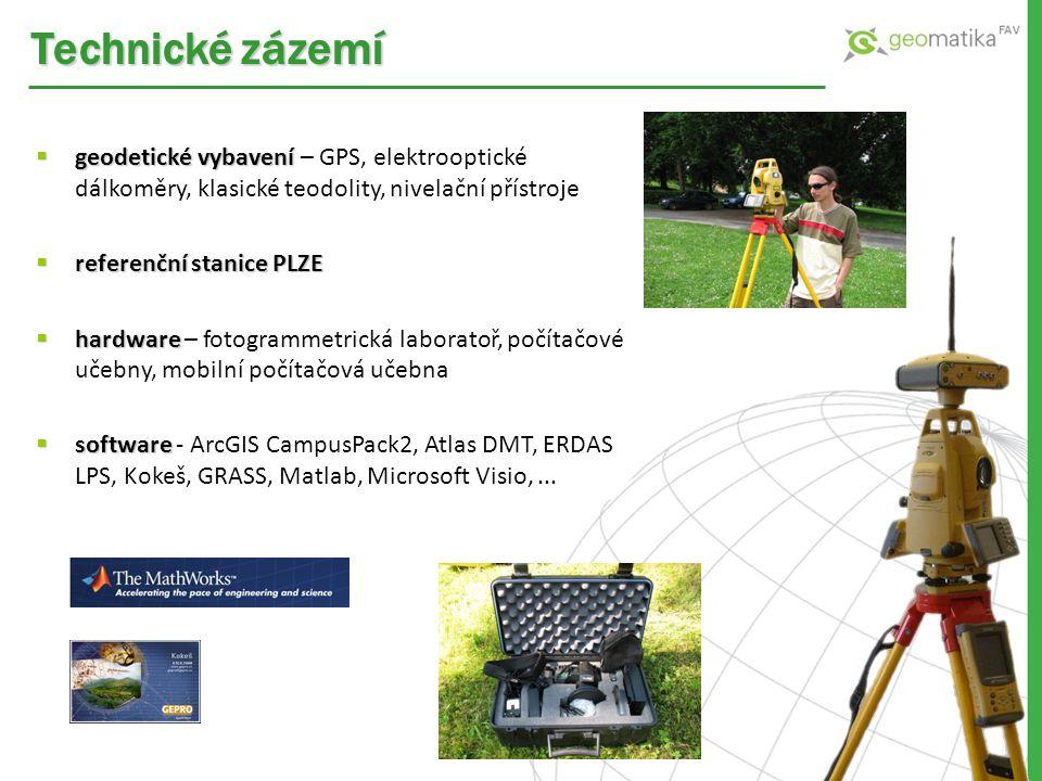 Technické zázemí geodetické vybavení – GPS, elektrooptické dálkoměry, klasické teodolity, nivelační přístroje.
