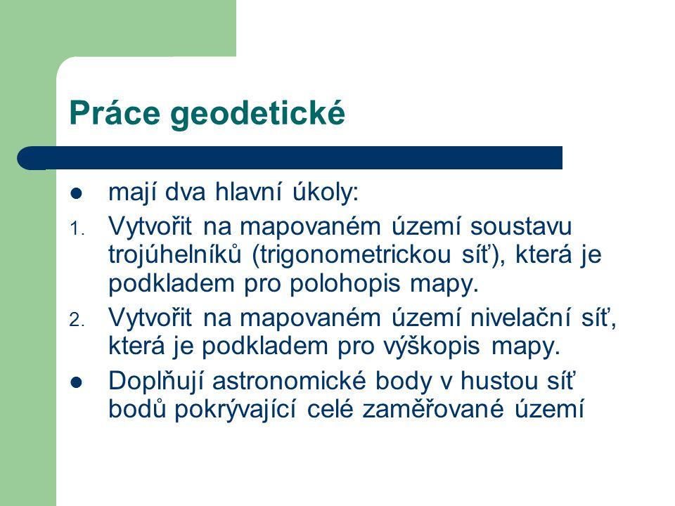 Práce geodetické mají dva hlavní úkoly: