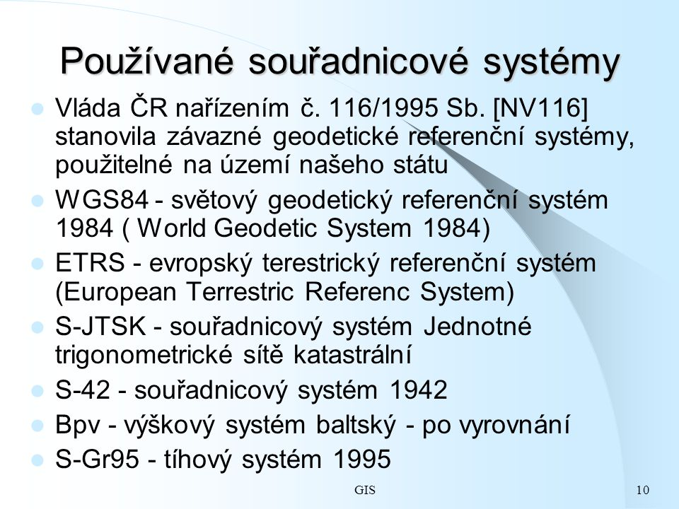 Používané souřadnicové systémy