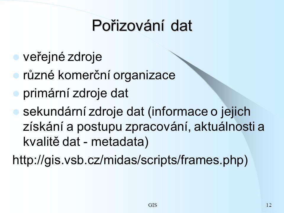 Pořizování dat veřejné zdroje různé komerční organizace