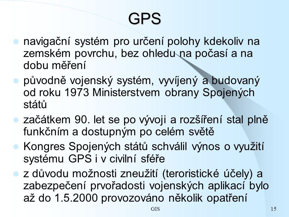 GPS navigační systém pro určení polohy kdekoliv na zemském povrchu, bez ohledu na počasí a na dobu měření.