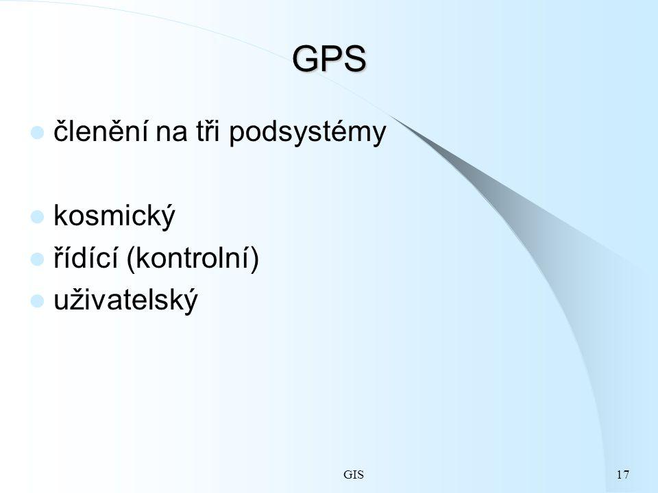 GPS členění na tři podsystémy kosmický řídící (kontrolní) uživatelský