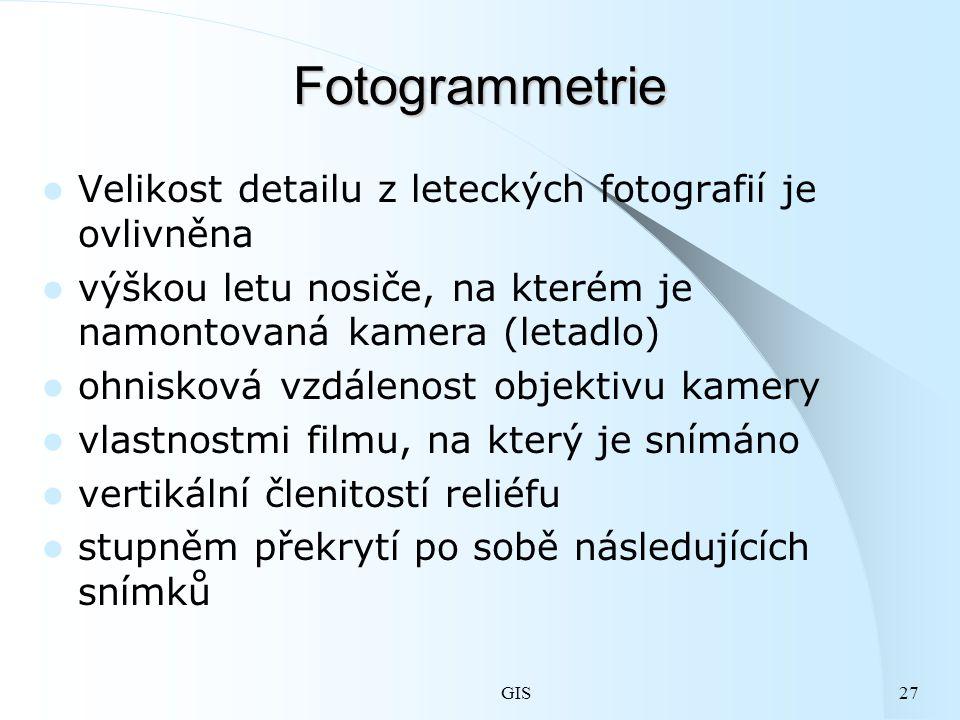 Fotogrammetrie Velikost detailu z leteckých fotografií je ovlivněna
