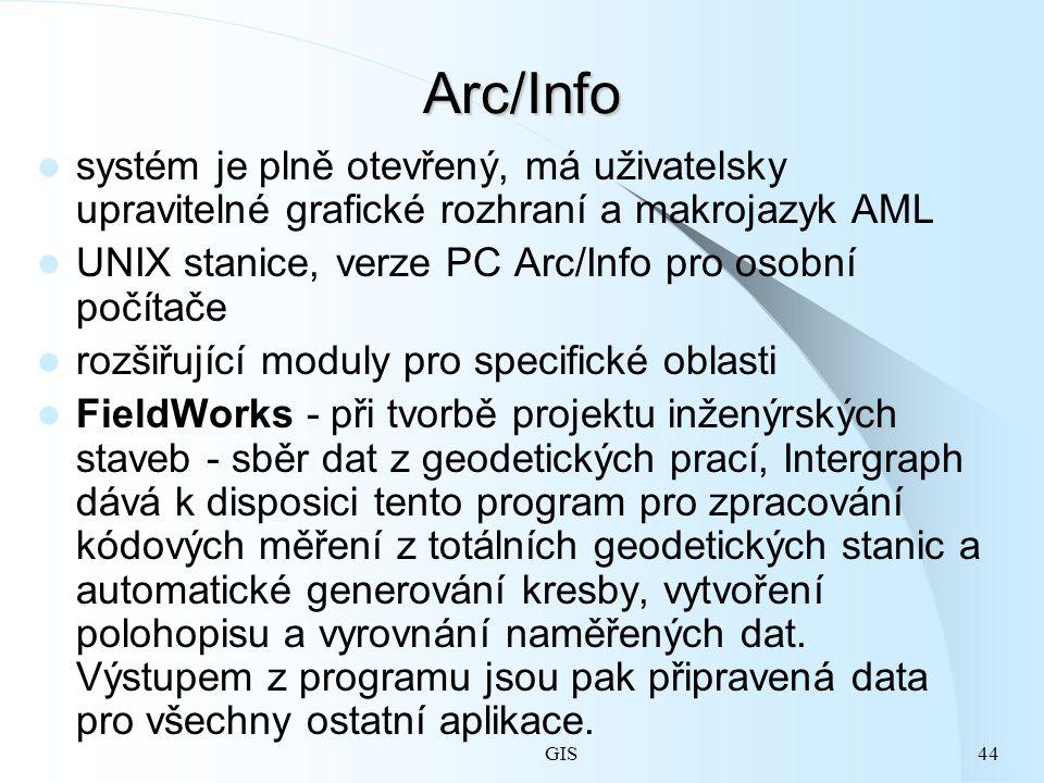 Arc/Info systém je plně otevřený, má uživatelsky upravitelné grafické rozhraní a makrojazyk AML. UNIX stanice, verze PC Arc/Info pro osobní počítače.