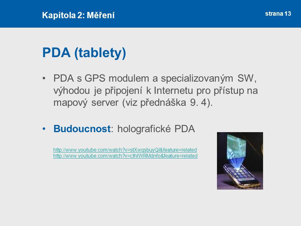 Kapitola 2: Měření PDA (tablety)