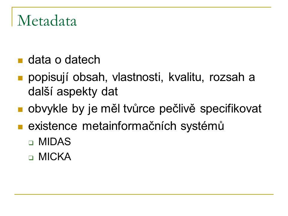 Metadata data o datech. popisují obsah, vlastnosti, kvalitu, rozsah a další aspekty dat. obvykle by je měl tvůrce pečlivě specifikovat.