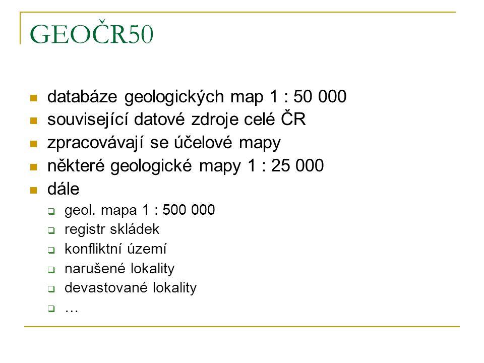 GEOČR50 databáze geologických map 1 : 50 000