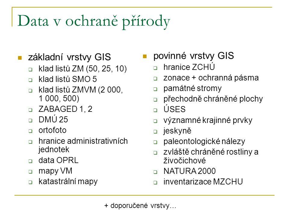 Data v ochraně přírody povinné vrstvy GIS základní vrstvy GIS