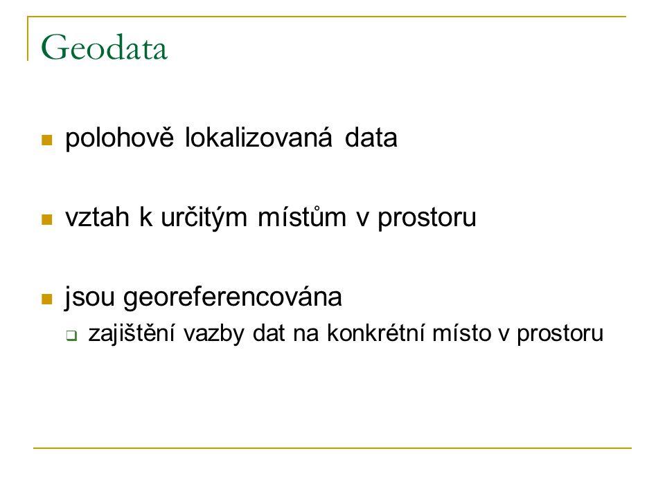 Geodata polohově lokalizovaná data vztah k určitým místům v prostoru