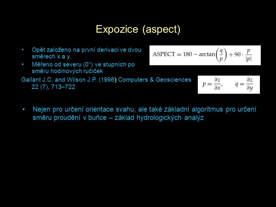 Expozice (aspect) Opět založeno na první derivaci ve dvou směrech x a y. Měřeno od severu (0°) ve stupních po směru hodinových ručiček.