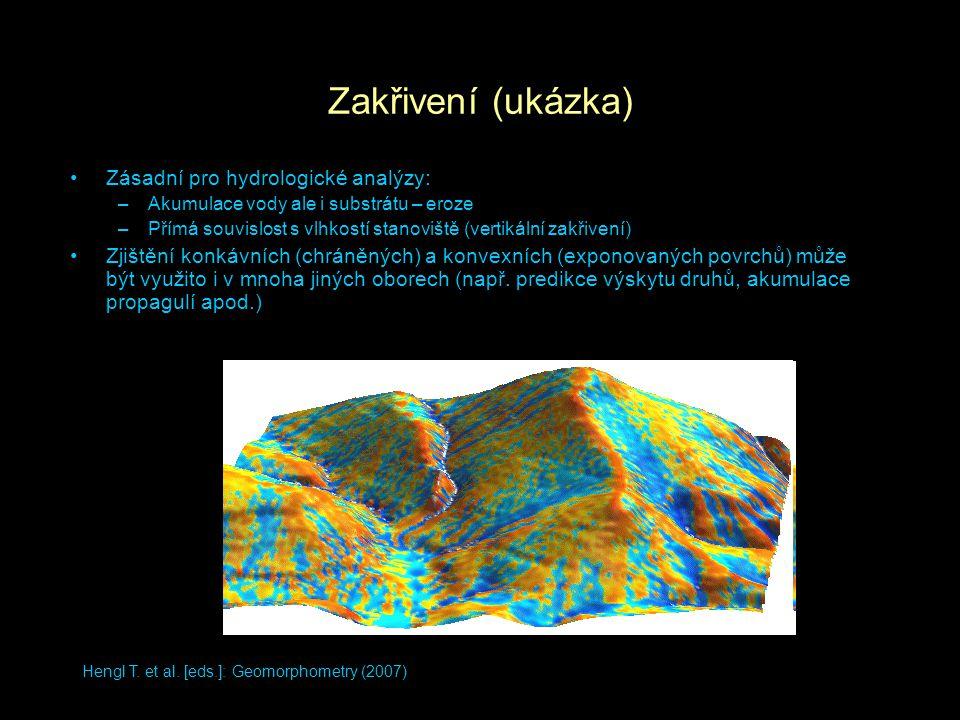 Zakřivení (ukázka) Zásadní pro hydrologické analýzy: