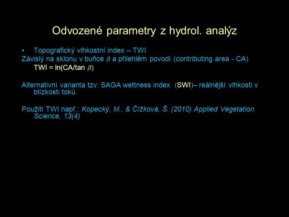 Odvozené parametry z hydrol. analýz