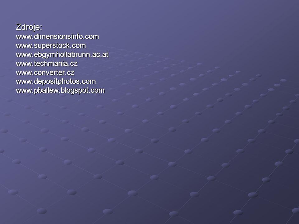 Zdroje: www.dimensionsinfo.com www.superstock.com