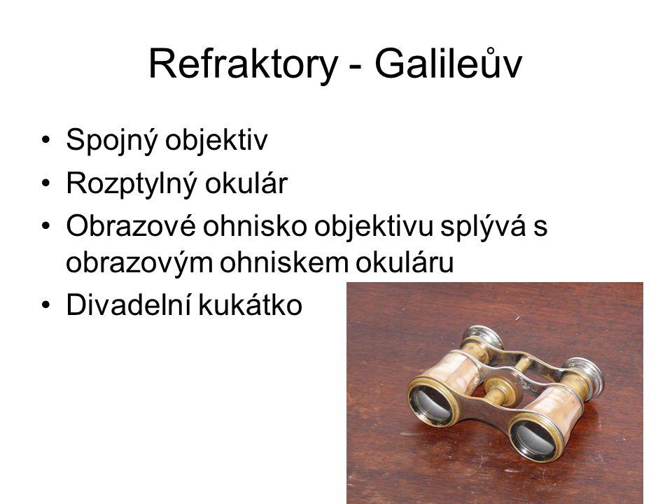 Refraktory - Galileův Spojný objektiv Rozptylný okulár