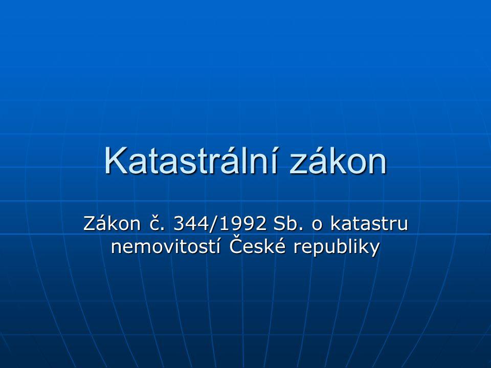 Zákon č. 344/1992 Sb. o katastru nemovitostí České republiky