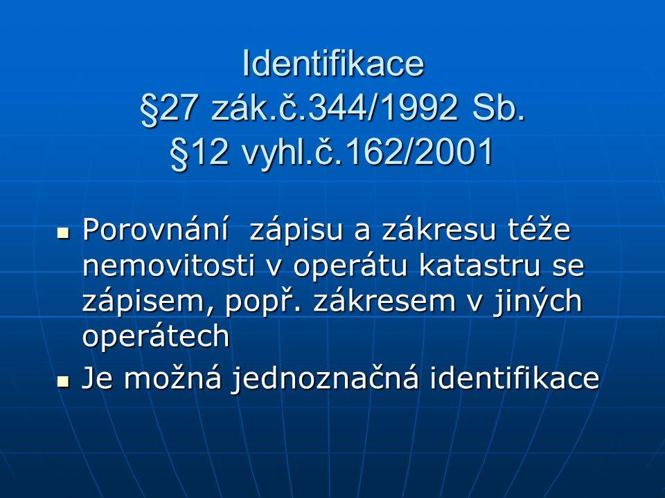 Identifikace §27 zák.č.344/1992 Sb. §12 vyhl.č.162/2001