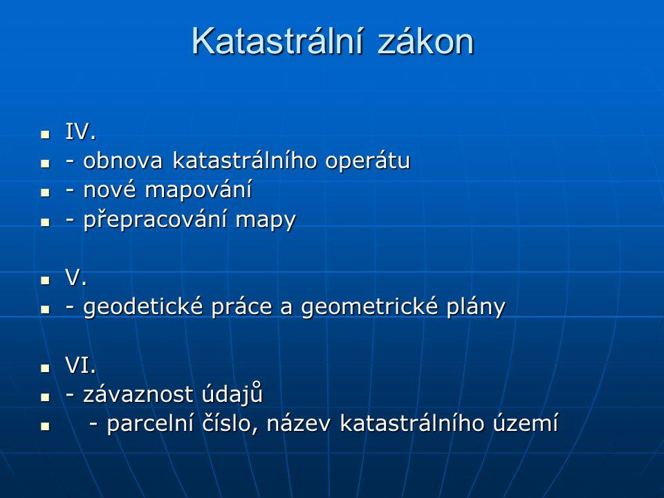 Katastrální zákon IV. - obnova katastrálního operátu - nové mapování
