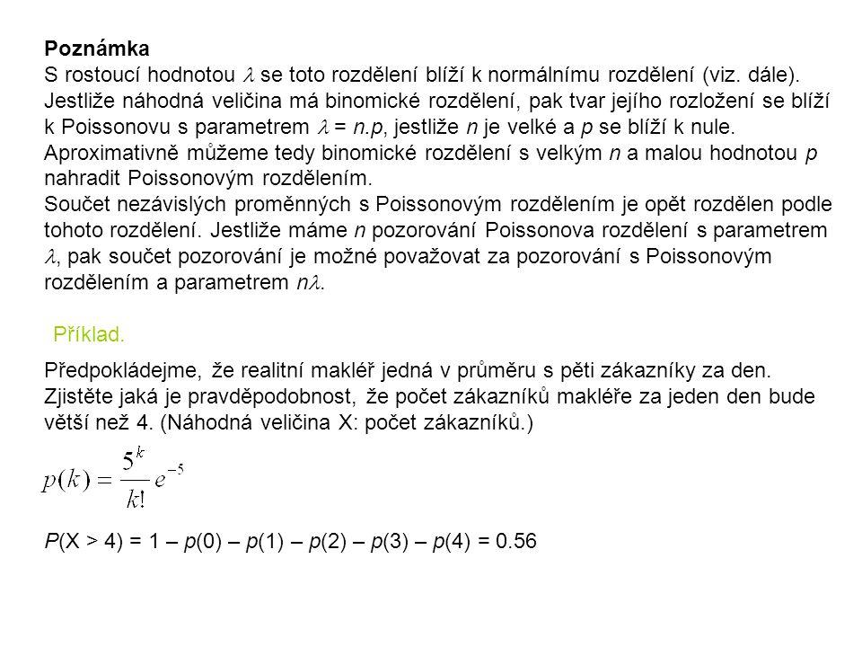 Poznámka S rostoucí hodnotou l se toto rozdělení blíží k normálnímu rozdělení (viz. dále). Jestliže náhodná veličina má binomické rozdělení, pak tvar jejího rozložení se blíží k Poissonovu s parametrem l = n.p, jestliže n je velké a p se blíží k nule. Aproximativně můžeme tedy binomické rozdělení s velkým n a malou hodnotou p nahradit Poissonovým rozdělením. Součet nezávislých proměnných s Poissonovým rozdělením je opět rozdělen podle tohoto rozdělení. Jestliže máme n pozorování Poissonova rozdělení s parametrem l, pak součet pozorování je možné považovat za pozorování s Poissonovým rozdělením a parametrem nl.