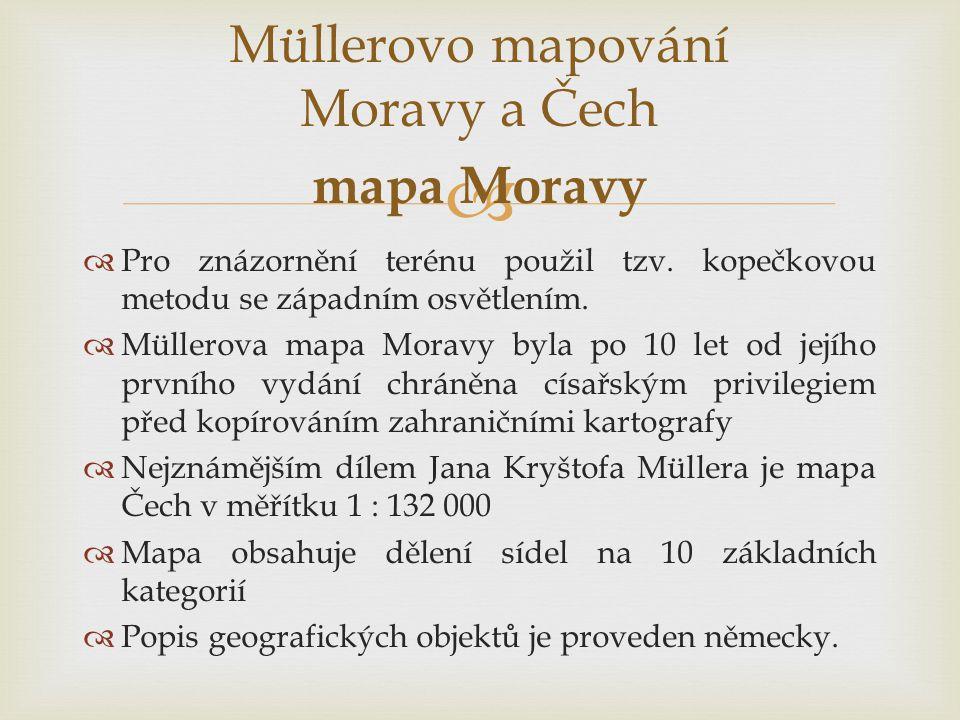 Müllerovo mapování Moravy a Čech mapa Moravy
