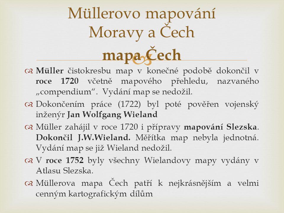 Müllerovo mapování Moravy a Čech mapa Čech