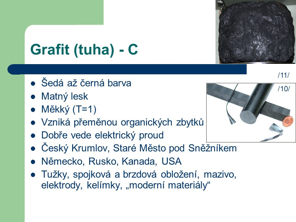 Grafit (tuha) - C Šedá až černá barva Matný lesk Měkký (T=1)