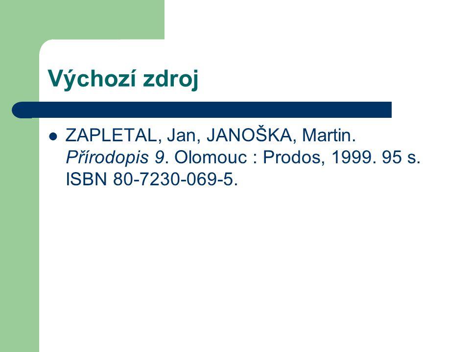 Výchozí zdroj ZAPLETAL, Jan, JANOŠKA, Martin. Přírodopis 9.