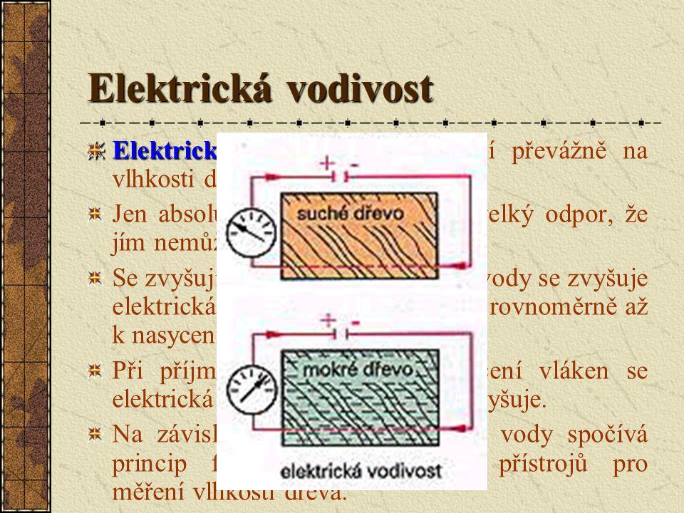 Elektrická vodivost Elektrická vodivost dřeva závisí převážně na vlhkosti dřeva.