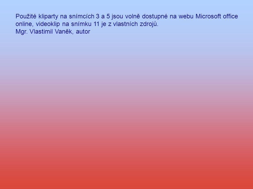 Použité kliparty na snímcích 3 a 5 jsou volně dostupné na webu Microsoft office