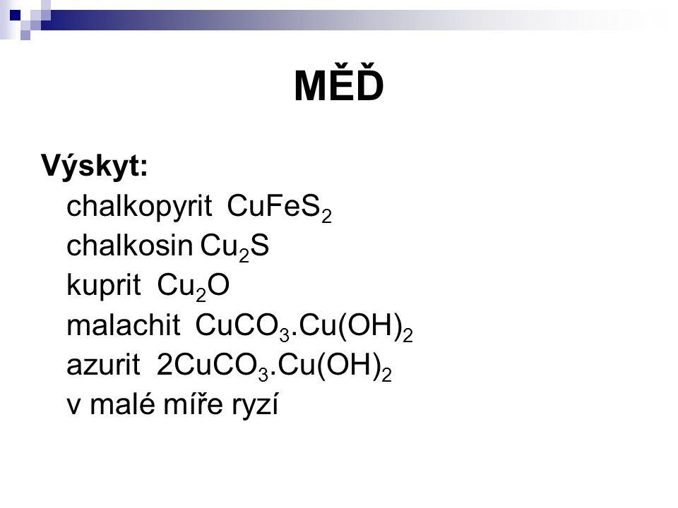 MĚĎ Výskyt: chalkopyrit CuFeS2 chalkosin Cu2S kuprit Cu2O