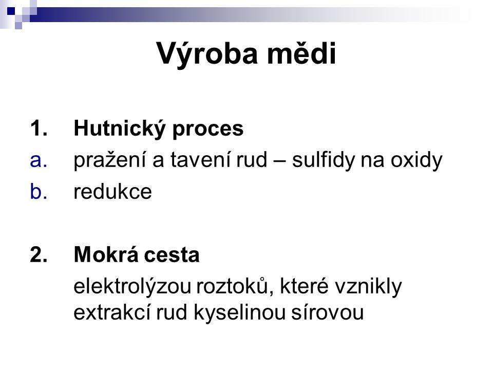 Výroba mědi 1. Hutnický proces pražení a tavení rud – sulfidy na oxidy