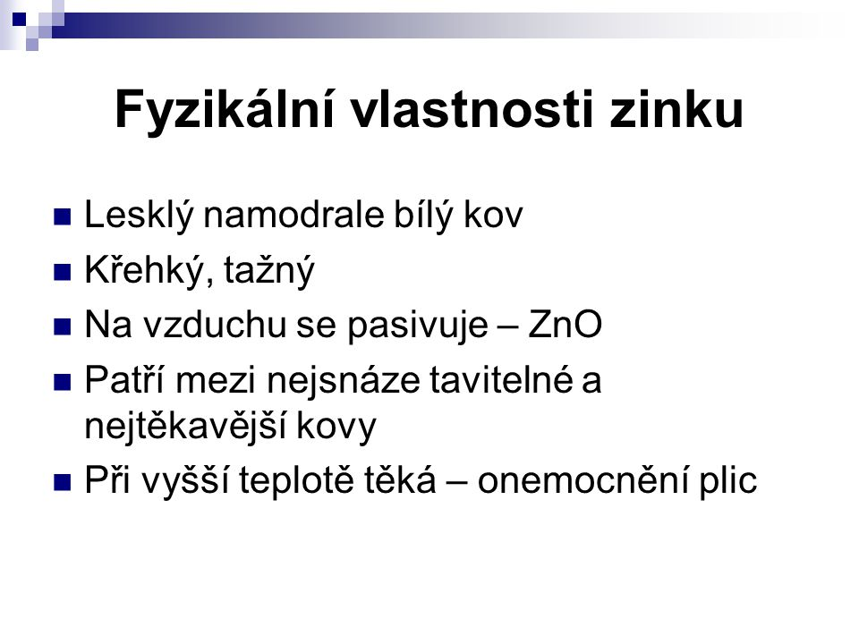 Fyzikální vlastnosti zinku