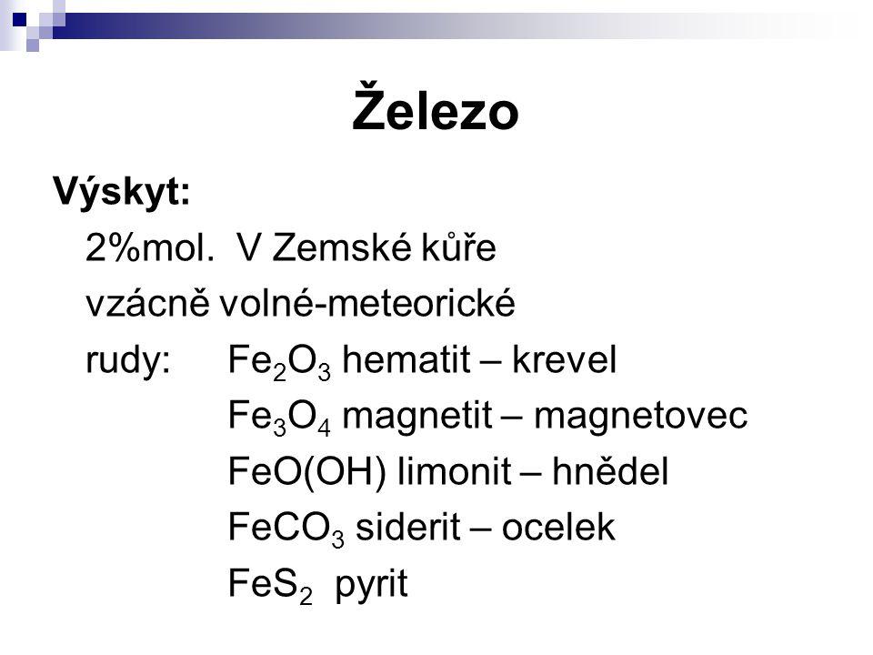 Železo Výskyt: 2%mol. V Zemské kůře vzácně volné-meteorické