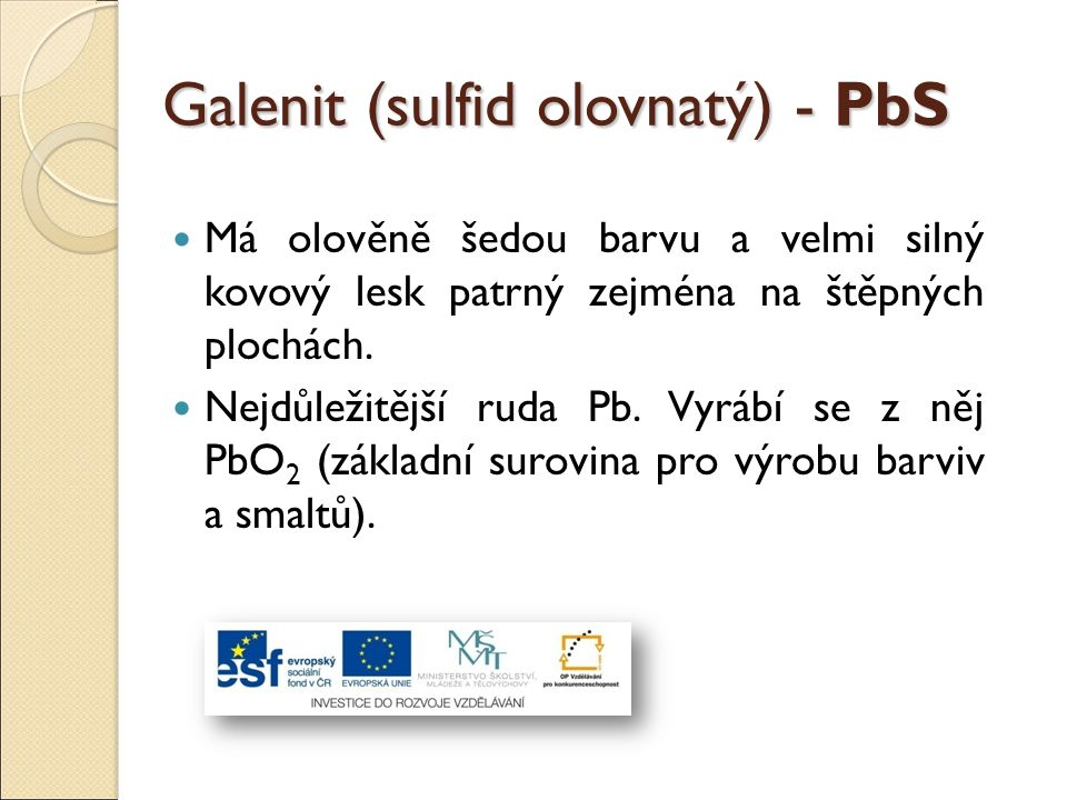 Galenit (sulfid olovnatý) - PbS